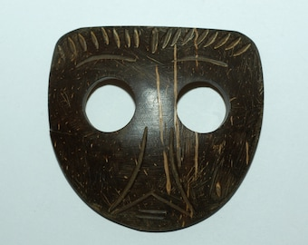 Large Coconut Mask Button. Size 2""