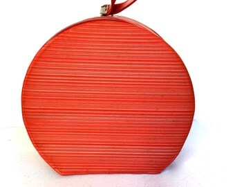 REDUCED   Mid-Century Round Red Vinyl Overnight Bag,