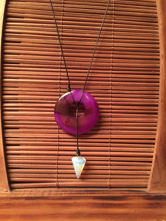 Agate & Opalite Lariat Necklace