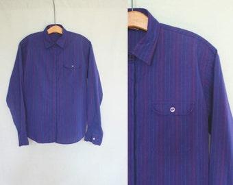 1980s Halston iii Blue Striped Button Down Shirt