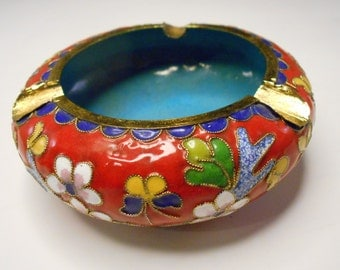 Vintage Cloisonne Ashtray with Asian Cherry Blossom Design