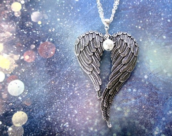 Angel wings necklace - Large angel wings - Angel wing jewellery - Christmas gift - Gothic jewellery - Fashion jewellery - Gift for girls UK