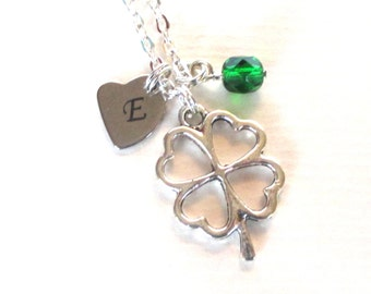Mother's Day gift - Lucky clover necklace -  Mum gift - Lucky gift - Initial necklace - Birthstone necklace - Gift for mum - UK