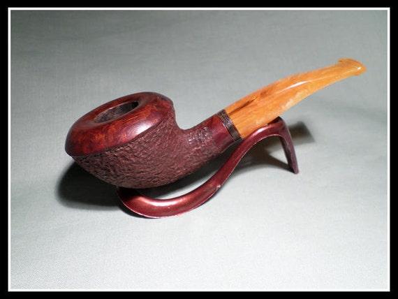 Briar Pipe – New Chambersburg Pipe Works Rustic Calabash with Morta (Bog Oak) Band & Luminous Orange Stem.