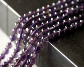Amethyst Beads . Smooth Round Beads . 3 to 4 mm . 7 Inch Strand
