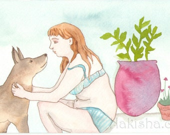 Original Watercolor Painting - Figurative Art - Sitting with Stan by the Pool