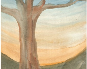 Original Watercolor Landscape Painting - Golden Tree