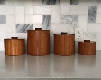 Vintage Set of 4 Danish Modern Teak Canisters - Mid Century Modern Kitchen Containers - Modern Wood Jars - Flour Tea Sugar Coffee