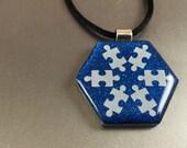 Snowflake Autism Awareness Pendant, Autism Awareness Jewelry, Snowflake, Autism mom, winter pendant, Autism Awareness necklace