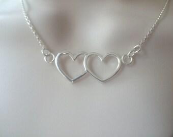 Sterling Silver Two Heart Pendant Necklace, Silver Heart Necklace, Double Heart Silver Pendant, Silver Heart Jewellery Gift, Open Heart