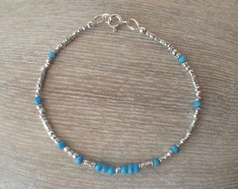 Turquoise Sterling Silver Beaded Bracelet, Sterling Silver Beaded Bracelet, Stackable Bracelet, Silver Jewellery, Modern Bracelet,