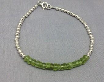 Green Peridot Ball Bracelet, Sterling Silver, Beaded Bar Bracelet, August Birthstone, Green Gemstone Jewellery, Peridot Bracelet