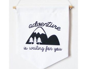 Wanderlust wall banner. Kids wall banner. Black & white wall banner.   Mountains adventure wall flag.