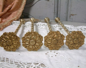 Set of 4 long french vintage gilded heavy brass curtain tie backs. Curtain hold back. Floral rosette motif. 2 pairs. French chateau.