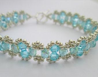 Turquoise and silver bracelet swarovski elements beaded bracelet, swarovski bracelet, crystal bracelet, summer bracelet, BR001