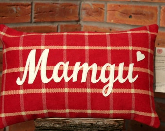 "Mamgu Cotton Cushion : ""MAMGU"" in Script Writing"