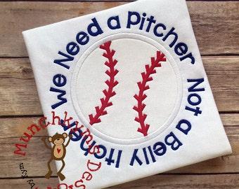 We Need a Pitcher Circle Applique Design