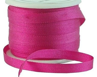 11 Yds (10 M) Embroidery Silk Ribbon 100% Silk 4mm - Magenta - By Threadart