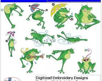 Embroidery Design CD - Hoppy Frogs(1) - 10 Designs - 9 Formats - Threadart