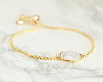 Rainbow Moonstone Bracelet, Moonstone Bracelet, White Gemstone bracelet, June Birthstone Bracelet, Adjustable bracelet, Bridesmaid Gift