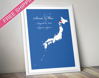 Personalized Japan Wedding Gift : Custom Location and Map Print - Engagement Gift, Housewarming Gift - Wedding guest book poster