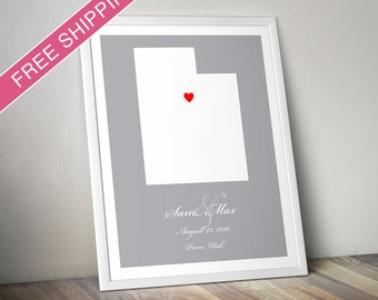 Personalized Utah Wedding Gift : Custom Location and Map Print - Engagement Gift, Housewarming Gift - Wedding Guest Book