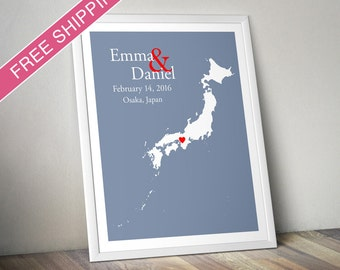 Custom Wedding Gift : Personalized Wedding Location and Country Map Print - Japan - Engagement Gift, Wedding Guest Book