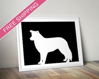 Border Collie Print - Border Collie Silhouette - Border Collie art, modern dog home decor, dog gift
