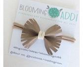 Bitty Bows - Mocha Fringe Leather Bow Headbands - Boho Bow - Nylon Headband