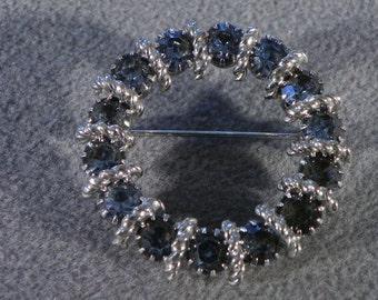 Vintage Blue Rhinestone Open Circle Pin Brooch    **RL