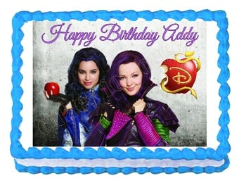 Disney Descendants Mal and Evie party edible cake image cake topper frosting sheet