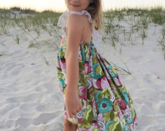 Girls Beach-Summer Lace-Trim Floral Dress in sizes 12 month to size 14. Toddlers-Girls-Tween
