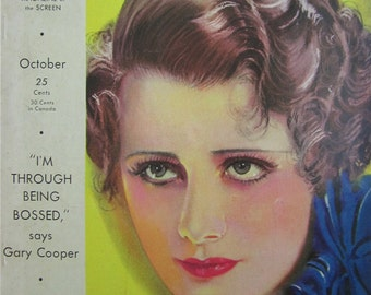 Original October 1932 Irene Dunne Photoplay Magazine Cover By Earl Christy - Hollywood's Golden Age - Free Shipping
