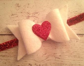 Valentine's Heart Bow Glittler Headband..Valentine's Day Headbands