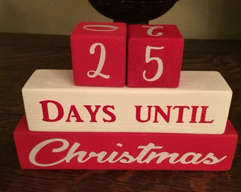 Wooden 25 Days Until Christmas Countdown Blocks