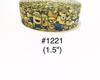 "3 or 5 yard - 1.5"" Minion and Friends Yellow and Blue Grosgrain Ribbon Hair bow"