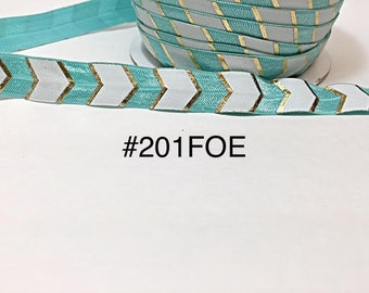 "3 or 5 yard - 5/8"" Gold, Mint Blue and White Fold Over Elastic Headband Hair Accessories"