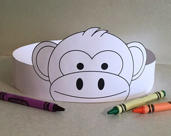 Monkey Paper Crown COLOR YOUR OWN - Printable
