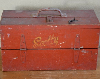 Vintage Tool Chest, Scotty Tool Chest, Wood Tool Chest, Wood Tool Box, Machinist Tool Chest