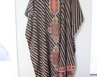 vintage black bohemian tunic caftan dress