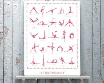 Pink Flamingo yoga poster, 18 x 24