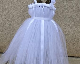 FALL SALE 15% OFF White Flower Girl Dress, white wedding dress, white tutu dress, white costume, flower girl dress, white baptism dress