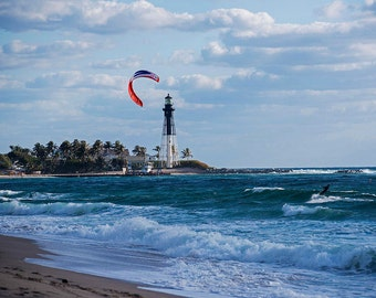 Pompano Beach Kiteboarder, Pompano FL, Hillsboro Lighthouse, Florida photography, Florida Print, Florida decor, Kiteboarding decor