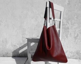 Leather Shoulder Bag/Large Leather Bag/Big Leather Hobo Bag