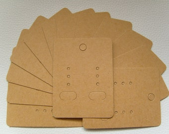 100 x Earring Display Cards (6.7-7cm x 5cm) ~ Light Mocha