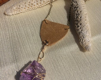 Amethyst and Suede Crystal Necklace