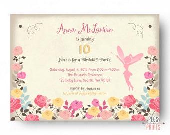 Fairy Birthday Invitation - Fairy Birthday Party - Fairy Garden Birthday Invitation Rose - Printable Floral Birthday Invitations for Girls