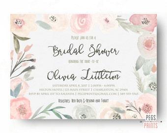 Spring Bridal Shower Invitation - Floral Bridal Shower Invitation - Printable Bridal Shower Invitation - Bridal Invitations - Peony Pink
