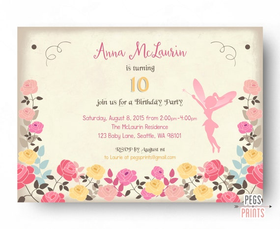 Fairy Birthday Invitation Fairy Birthday Party Fairy Garden – Garden Birthday Party Invitations