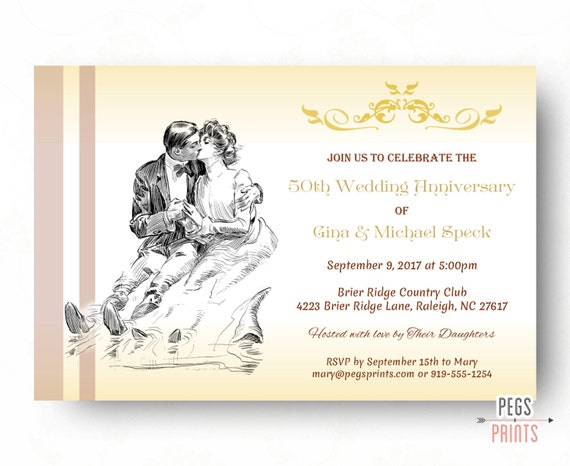 Cheap 50th Wedding Anniversary Invitations: Items Similar To Vintage 50th Wedding Anniversary